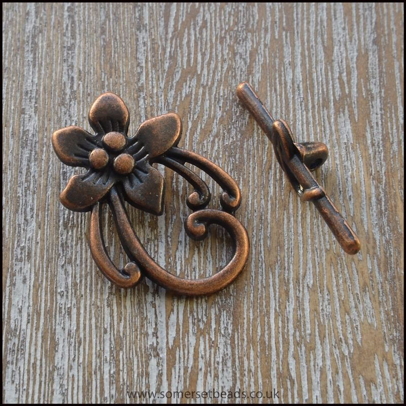 Copper Flower Toggle Clasps
