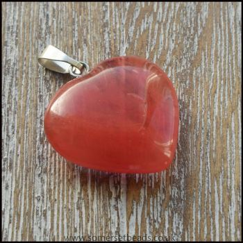 Cherry Quartz Heart Shaped Pendant