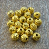 Gold Striped Stardust Beads 8mm