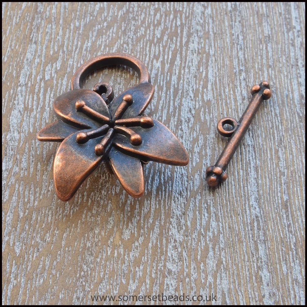 Copper lily flower toggle clasp