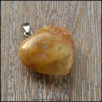 Jasper Heart Shaped Semi Precious Gemstone Pendant