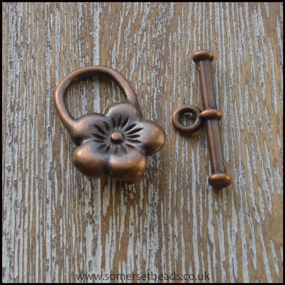 Small Copper Flower Toggle Clasps