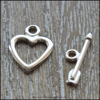 Sterling Silver Heart Toggle Clasp