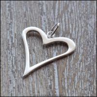 Sterling Silver Open Heart Charm - Large