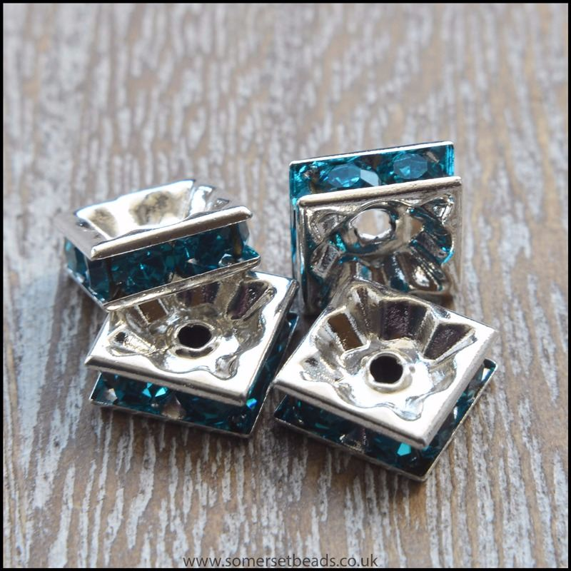 Turquoise Rhinestone Square Spacer Beads