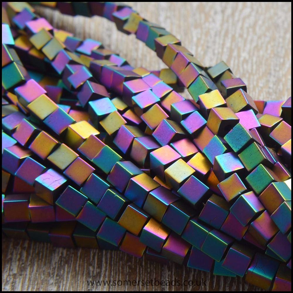 Rainbow Hematite Cube Beads. 3mm