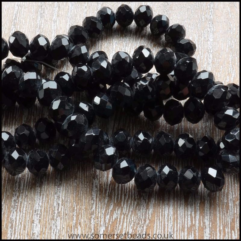 Black Faceted Glass Crystal Rondelle Beads 6mm x 4mm