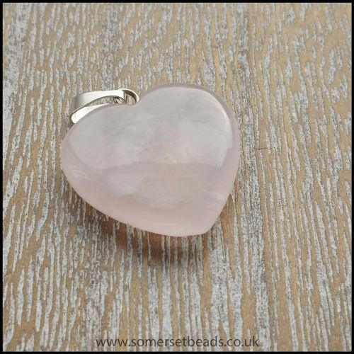 Rose Quartz Semi Precious Gemstone Heart Shaped Pendant