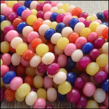 Dyed Jade Faceted Rondelle Semi Precious Beads