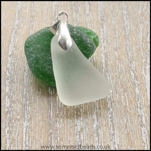 White Sea Glass Triangular Pendant -A