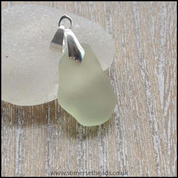 Pale Green Sea Glass Free Form Pendant -A