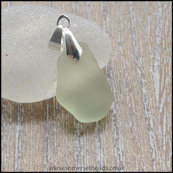 Pale Green Sea Glass Free Form Pendant -A