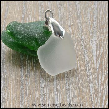 White Sea Glass Free Form Pendant - C
