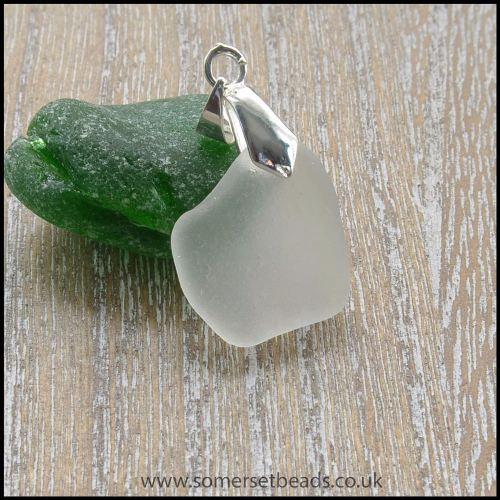 White Sea Glass Free Form Pendant - C