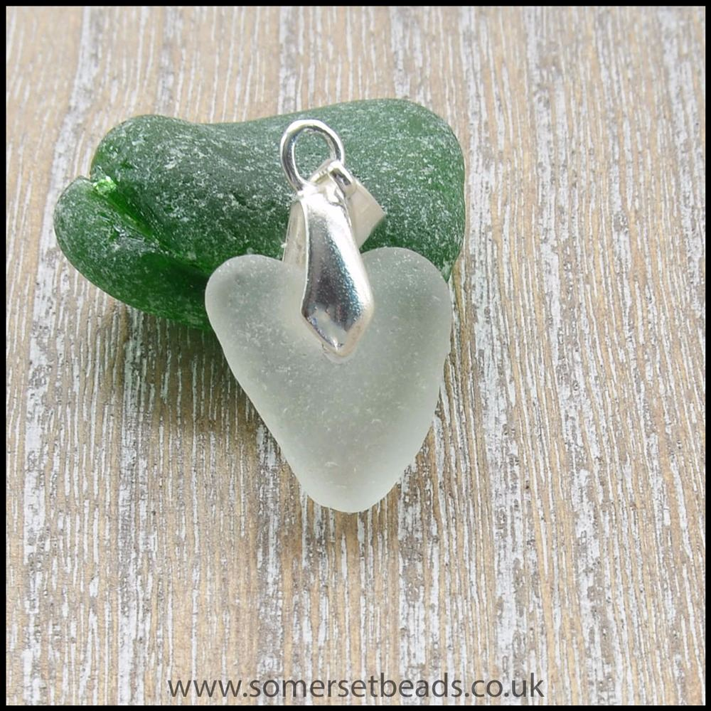 White Heart Shaped Sea Glass Pendant - D