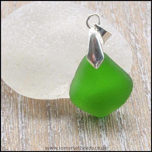 Sea Glass Green Diamond Shaped Pendant - A