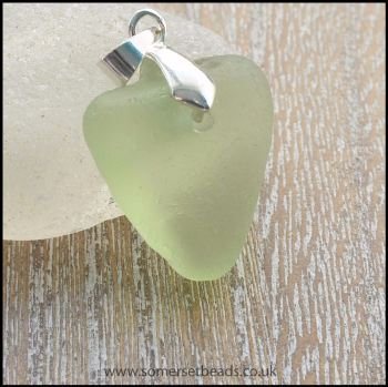 Sea Glass Pale Green Heart Pendant - B