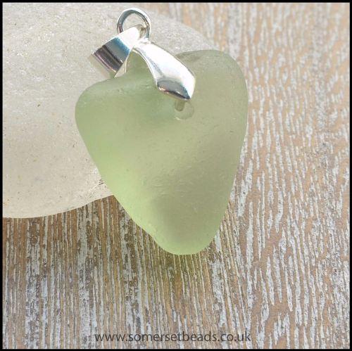 Sea Glass Pale Green Heart Pendant - B