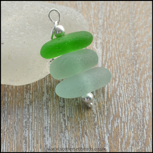 Sea Glass Stack Pendant - B