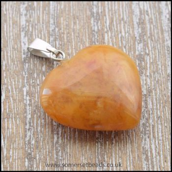 Red Aventurine Semi Precious Gemstone Heart Pendant