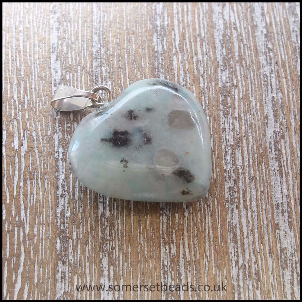 Sesame Jasper Heart Shaped Semi Precious Gemstone Pendant