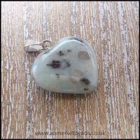 Sesame Jasper Heart Shaped Semi Precious Gemstone Pendant