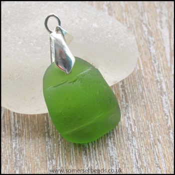 Green Sea Glass Pendant With Raised Band - B