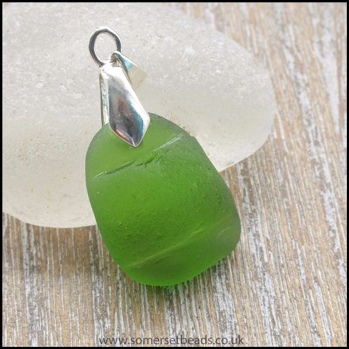 Green Sea Glass Pendant With Raised Band