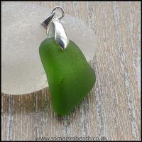 Green Sea Glass Free Form Pendant - C