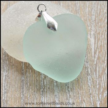 Large Seafoam Sea Glass Heart Pendant