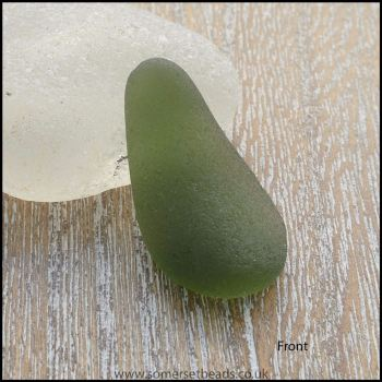Green Sea Glass Teardrop Undrilled Pendant - A