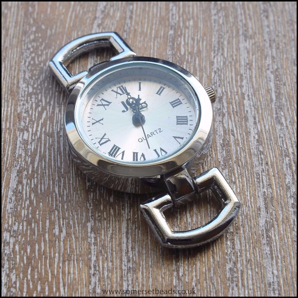 Silver Round Quartz Watch Face for Jewellery Making
