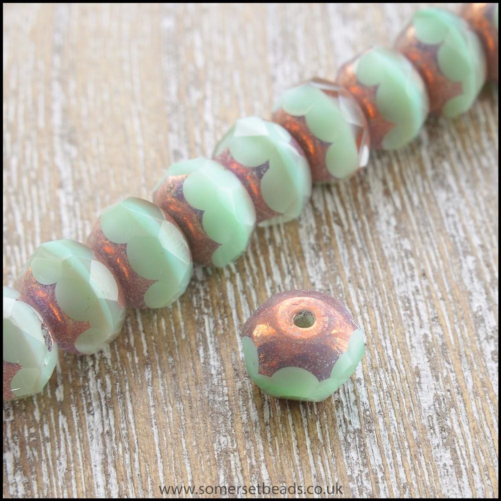 Mint Cream Czech Glass Faceted Picasso Rondelle Beads