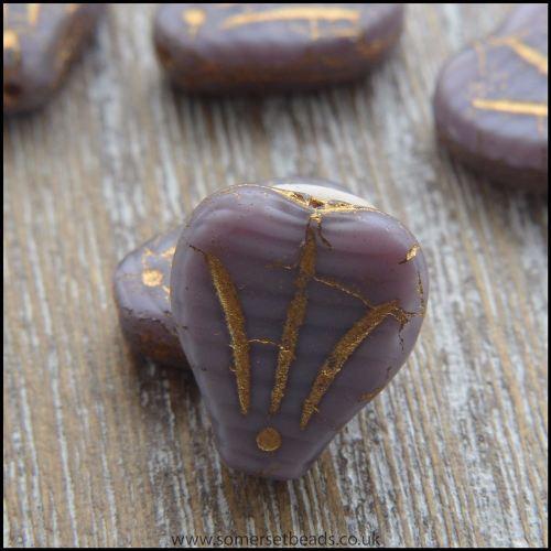 Czech Glass Lily Flower Beads - Purple