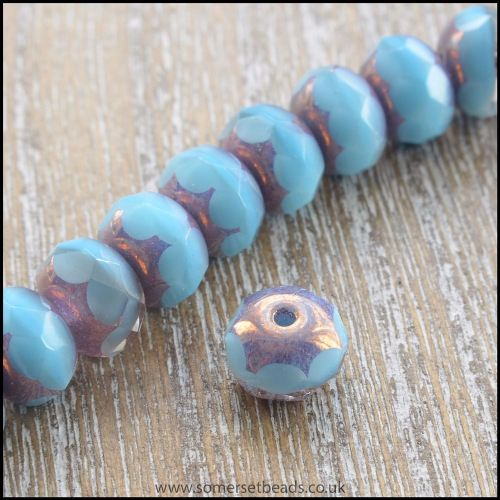 Czech Glass Faceted Picasso Rondelle Beads - Turquoise