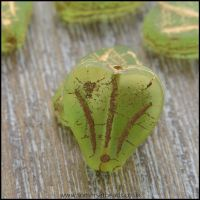 Czech Glass Lily Flower Beads - Apple Green