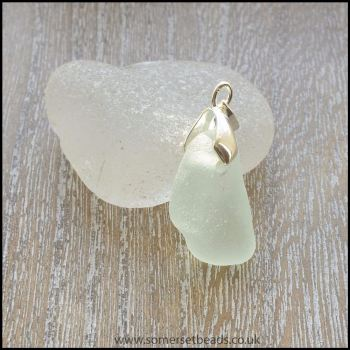 Seafoam Sea Glass Free Form Pendant - B
