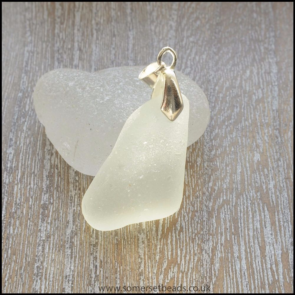 White Sea Glass Triangular Pendant -G