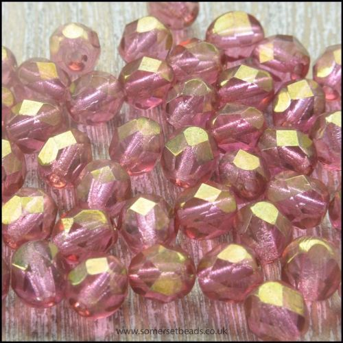 Czech Glass Faceted Fire Polished Beads 4mm Raspberry Gold Lustre