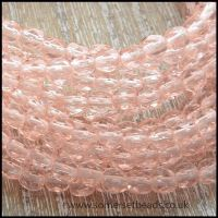 Czech Glass Faceted Fire Polished Beads 4mm - Soft Pink
