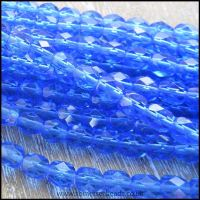 Czech Glass Faceted Fire Polished Beads 6mm - Blue