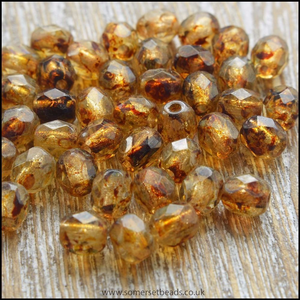 Czech Glass Faceted Fire Polished Beads 4mm Golden Picasso