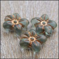 Czech Glass Pressed Puffy Flower Bead - Deep Seafoam
