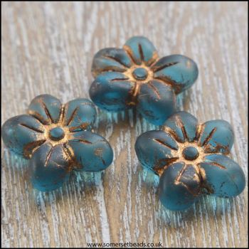 Czech Glass Pressed Puffy Flower Bead - Teal