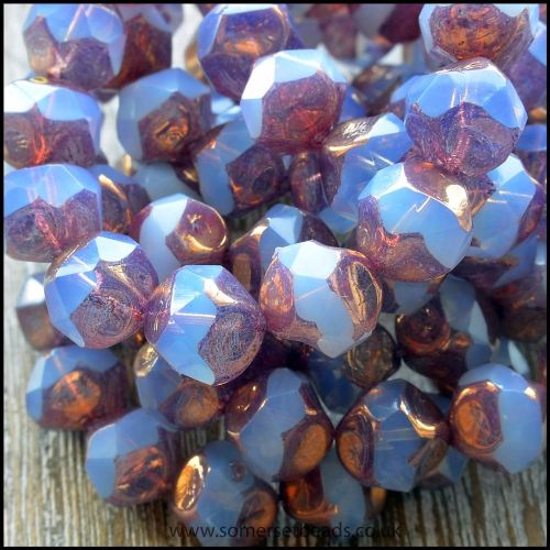 Czech Glass Faceted Picasso Central Cut Beads - Lavender