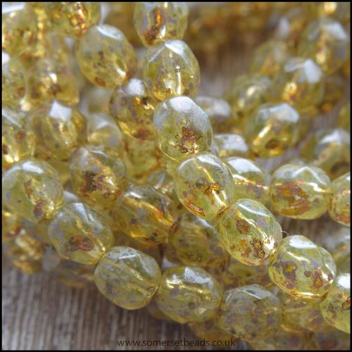 Czech Glass Faceted Fire Polished Beads 6mm Champagne Picasso
