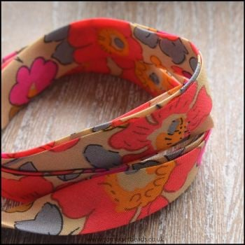 Liberty Of London Bias Ribbon 10mm Betsy Fluo Tea