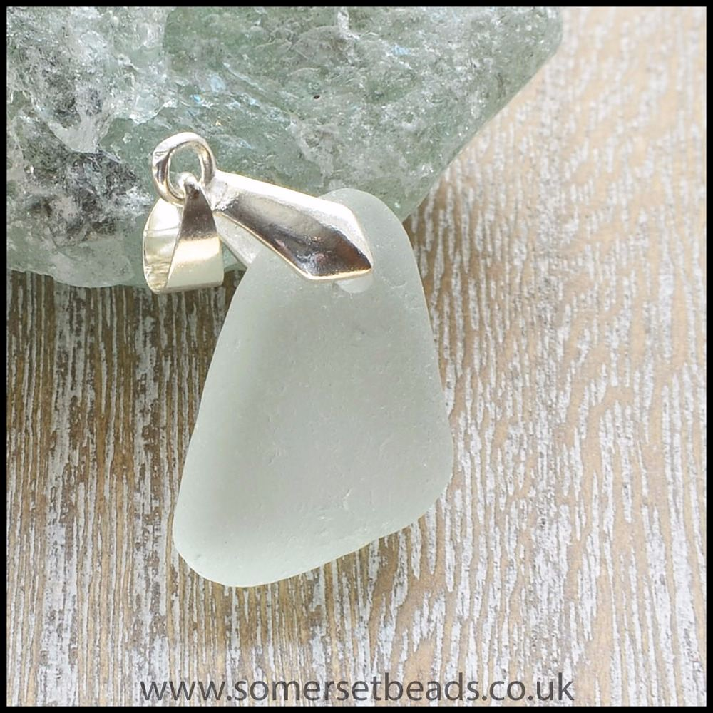 Seafoam Sea Glass Triangle Pendant -C