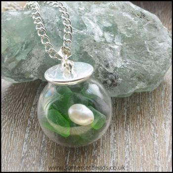 Sea Glass & Pearl Globe Pendant - Green