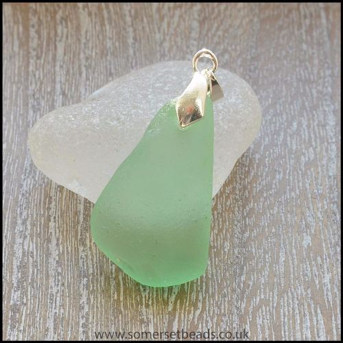 Sea Glass Sea Green Triangle Shaped Pendant - A